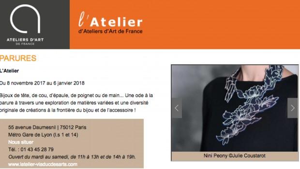 // PARURES // L'Atelier // Du 08/11/17 au 06/01/18